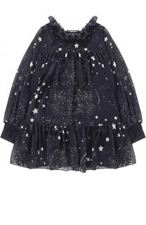 Мини-платье свободного кроя с оборками и принтом Monnalisa