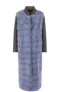 Удлиненное шерстяное пальто с отделкой из меха норки Simonetta Ravizza