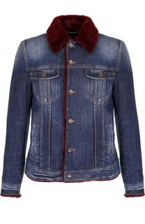 Джинсовая куртка на пуговицах с меховой подкладкой Dolce & Gabbana
