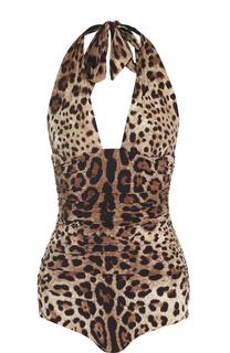Слитный купальник с открытой спиной и леопардовым принтом Dolce & Gabbana