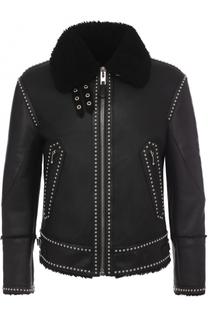 Кожаная куртка на молнии с меховой подкладкой Givenchy