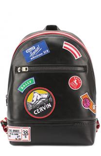 Кожаный рюкзак с контрастными нашивками Bally