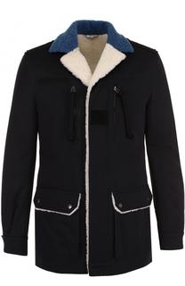 Хлопковая куртка на молнии с меховой подкладкой Valentino