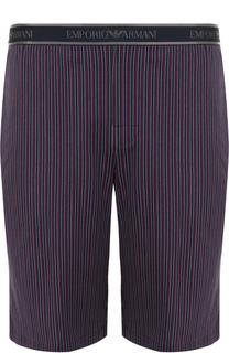 Хлопковые домашние шорты с поясом на резинке Emporio Armani
