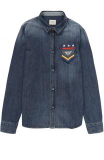 Джинсовая рубашка с потертостями Armani Junior