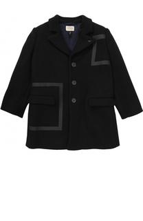 Шерстяное пальто не трех пуговицах Armani Junior