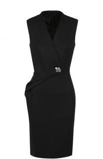 Шерстяное платье-футляр с V-образным вырезом Lanvin