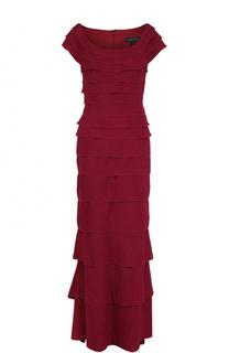 Платье-макси с круглым вырезом и оборками Tadashi Shoji