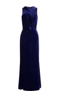 Приталенное бархатное платье-макси St. John