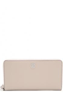Кожаное портмоне на молнии с логотипом бренда Tory Burch