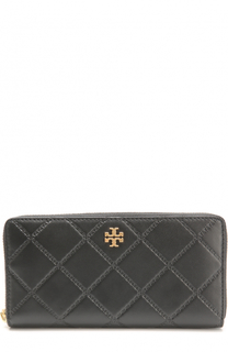 Кожаный кошелек на молнии с логотипом бренда Tory Burch