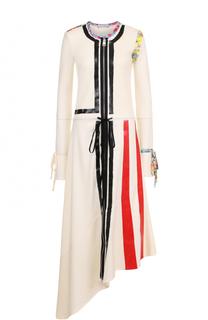 Платье-миди асимметричного кроя с контрастной отделкой J.W. Anderson