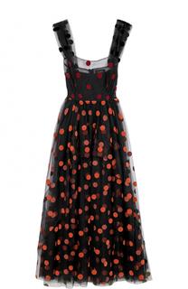 Кружевное платье-миди в горох Isa Arfen