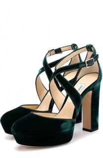 Бархатные туфли Joyce 120 на устойчивом каблуке Jimmy Choo