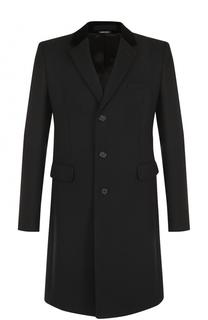 Шерстяное однобортное пальто с отложным воротником Alexander McQueen
