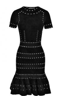 Приталенное платье с металлизированной отделкой Alexander McQueen