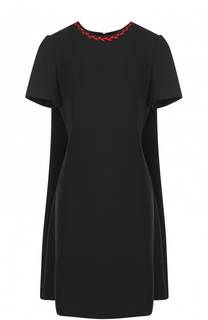 Шерстяное мини-платье с кейпом Alexander McQueen