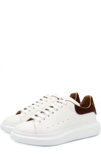 Кожаные кеды на шнуровке с контрастной отделкой задника Alexander McQueen
