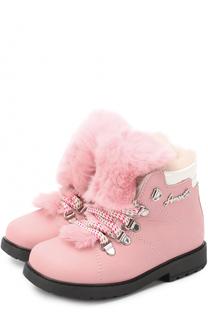 Ботинки из нубука с отделкой из меха кролика Simonetta