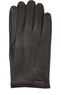 Кожаные перчатки с шерстяной подкладкой BOSS