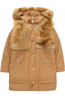 Стеганое пальто с отделкой из эко-меха Chloé