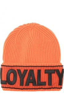 Шерстяная шапка фактурной вязки с нашивкой Versace