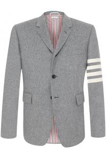 Однобортный кашемировый пиджак с контрастной отделкой Thom Browne