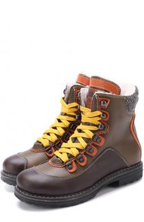 Кожаные ботинки с внутренней отделкой из овчины Dsquared2