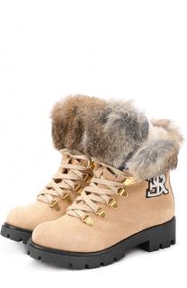 Замшевые ботинки с меховой отделкой Ermanno Scervino