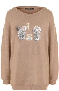 Пуловер свободного кроя с вышивкой пайетками Pietro Brunelli