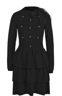 Приталенное мини-платье с оборками и бантом REDVALENTINO
