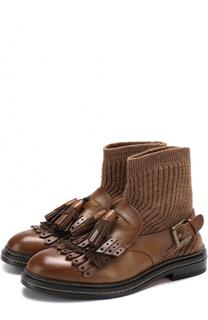 Кожаные ботинки с вязаной вставкой Santoni