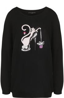 Пуловер с круглым вырезом и декоративной отделкой Pietro Brunelli