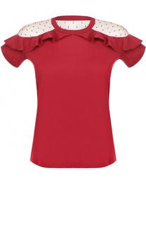 Хлопковая футболка с оборками и кружевными вставками REDVALENTINO