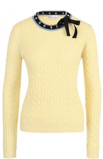 Пуловер фактурной вязки с контрастной отделкой выреза REDVALENTINO