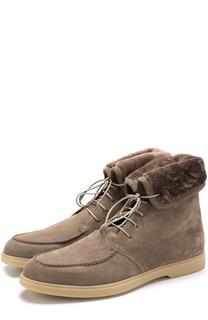 Замшевые ботинки на шнуровке с внутренней меховой отделкой Santoni