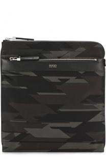 Текстильная сумка-планшет с кожаной отделкой HUGO
