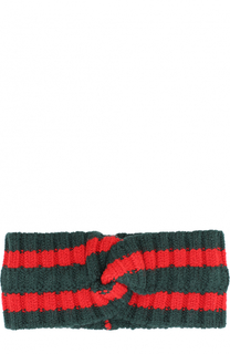Шерстяная повязка на голову фактурной вязки Gucci