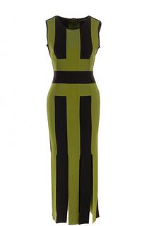 Приталенное платье-миди с высокими разрезами David Koma