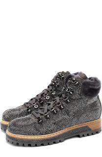 Замшевые ботинки с отделкой кристаллами Le Silla