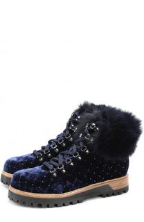 Бархатные стеганые ботинки на шнуровке Le Silla