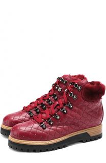 Кожаные стеганые ботинки с заклепками Le Silla