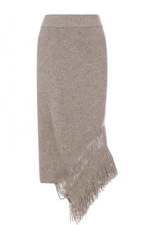 Кашемировая юбка асимметричного кроя с бахромой Stella McCartney