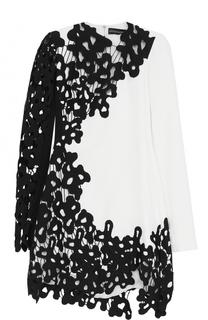 Мини-платье с контрастной кружевной отделкой David Koma