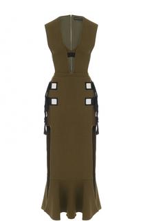 Платье-миди с высоким разрезом и V-образным вырезом David Koma