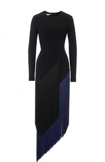 Приталенное платье-миди с длинным рукавом и бахромой Stella McCartney