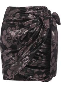 Шелковая мини-юбка с драпировкой и металлизированной отделкой Isabel Marant
