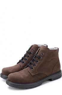 Ботинки из нубука на шнуровке Lanvin