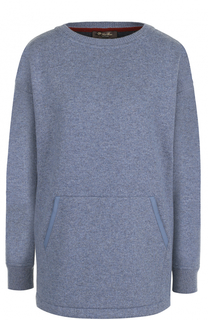 Кашемировый пуловер с круглым вырезом и накладным карманом Loro Piana