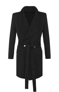 Шерстяное двубортное пальто с поясом Balmain